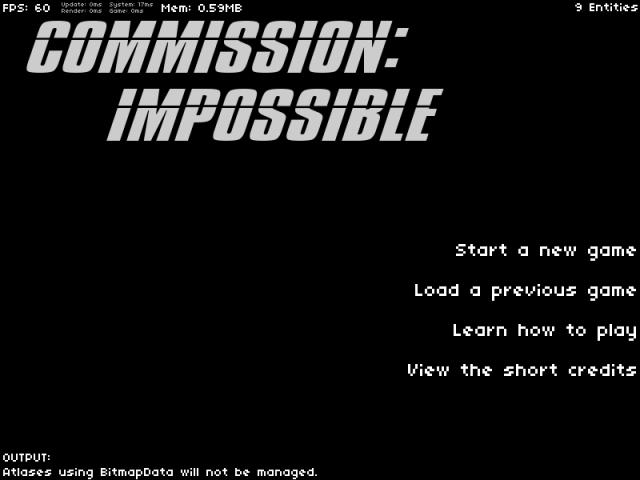 A title screen
